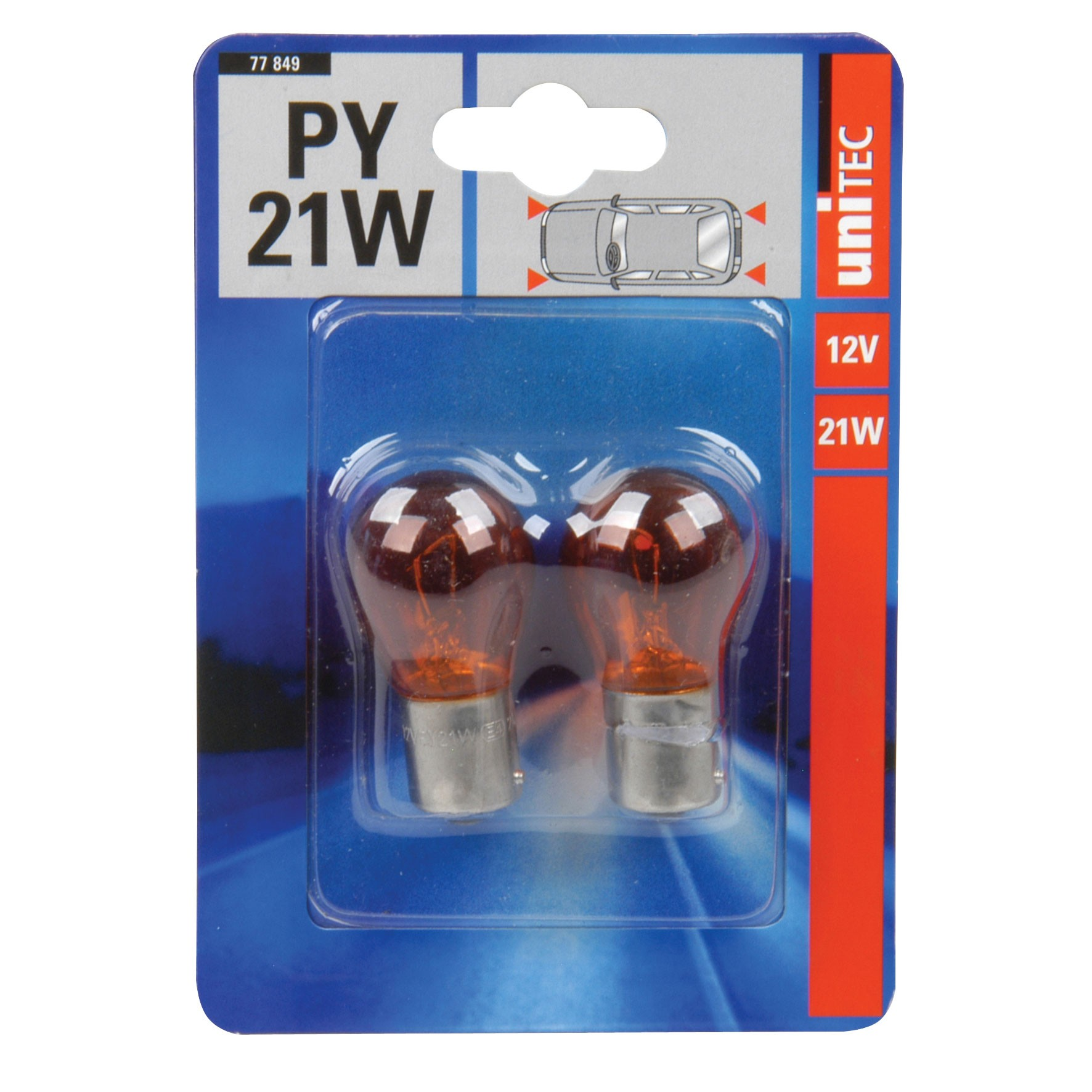 Kugellampe Unitec PY21W gelb 12Volt 2 Stück Bild 1