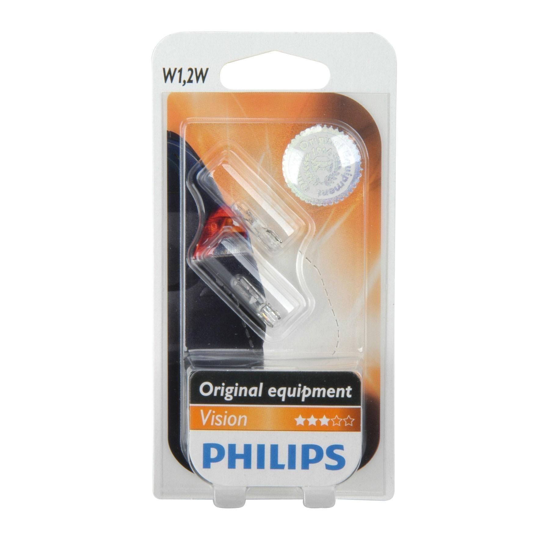 Philips Glassockellampe T5 12 Volt /  1,2 Watt 2 Stück - Autobeleucht. Bild 1