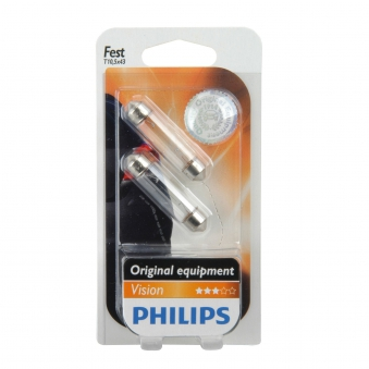 Philips Vision Soffittenlampe C10W 12Volt / 10Watt 2er Pack - Autobel. Bild 1