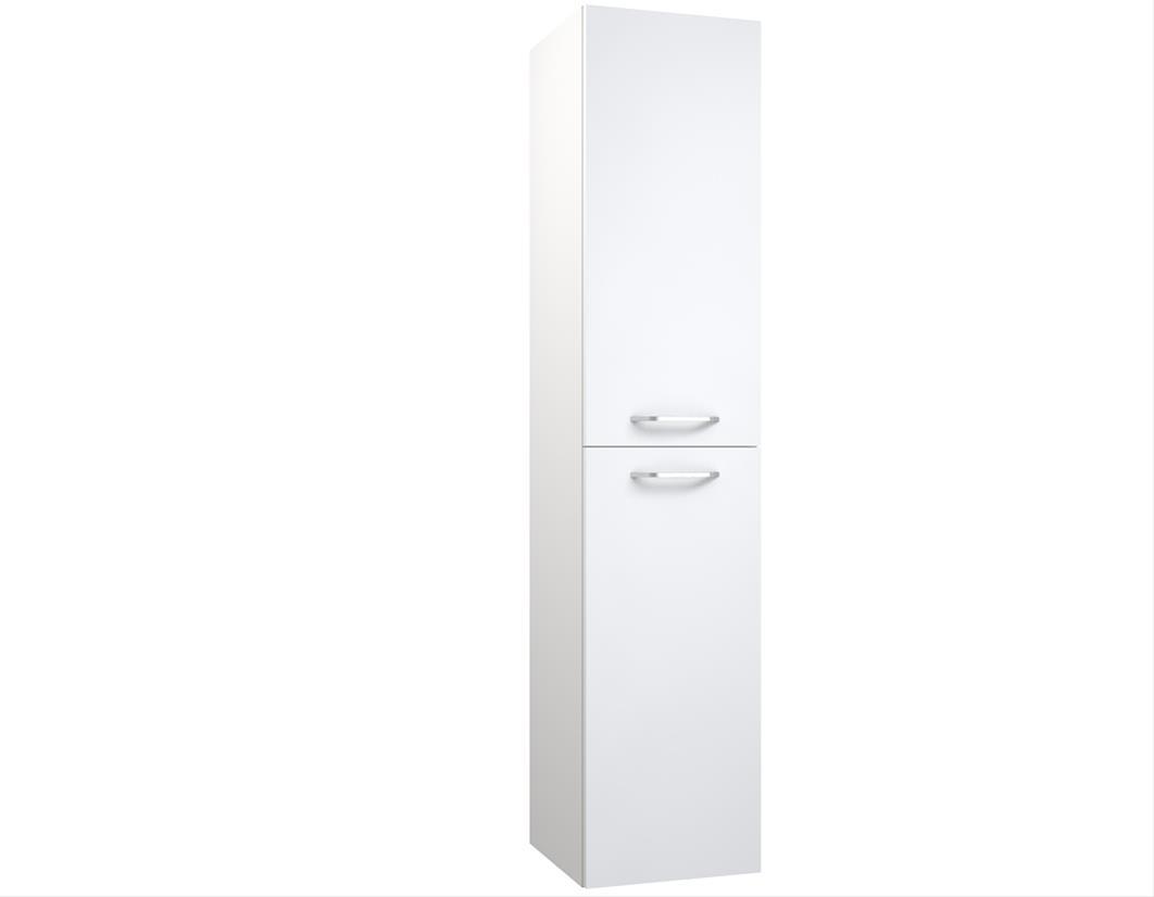 Bad Hochschrank Luna 35 mit 2 Türen, Bad-Utensilo, Weiß glänzend Bild 1
