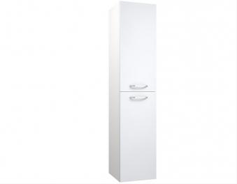 Bad Hochschrank Luna 35 mit 2 Türen, Wäschekorb, Weiß glänzend Bild 1