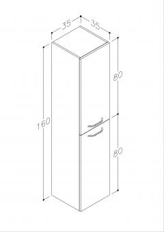 Bad Hochschrank Luna 35 mit 2 Türen, Wäschekorb, Weiß glänzend Bild 2