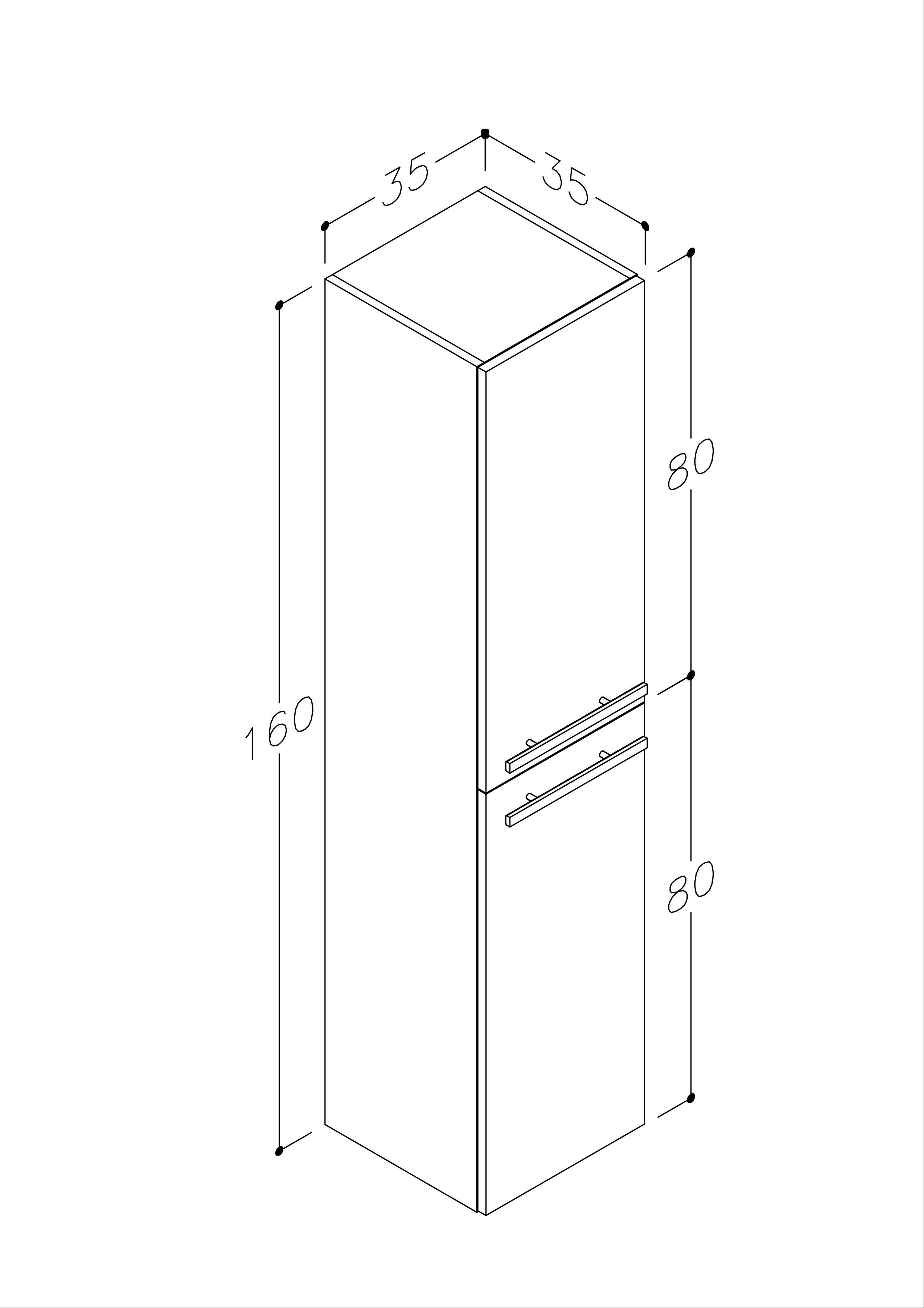 Bad Hochschrank Serena 35 mit 2 Türen, Wäschekorb, Weiß glänzend Bild 2