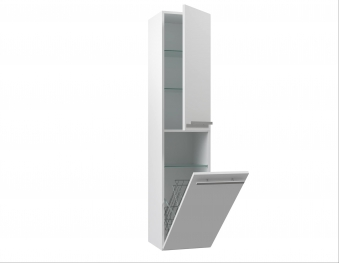 Bad Hochschrank Serena 35 mit 2 Türen, Wäschekorb, Weiß glänzend Bild 3