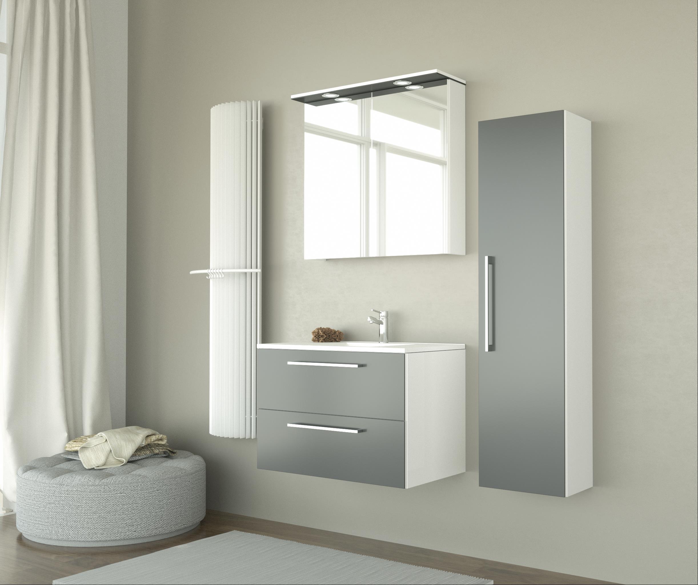 Bad LED Spiegelschrank Allegro 61 Grau glänzend Bild 4