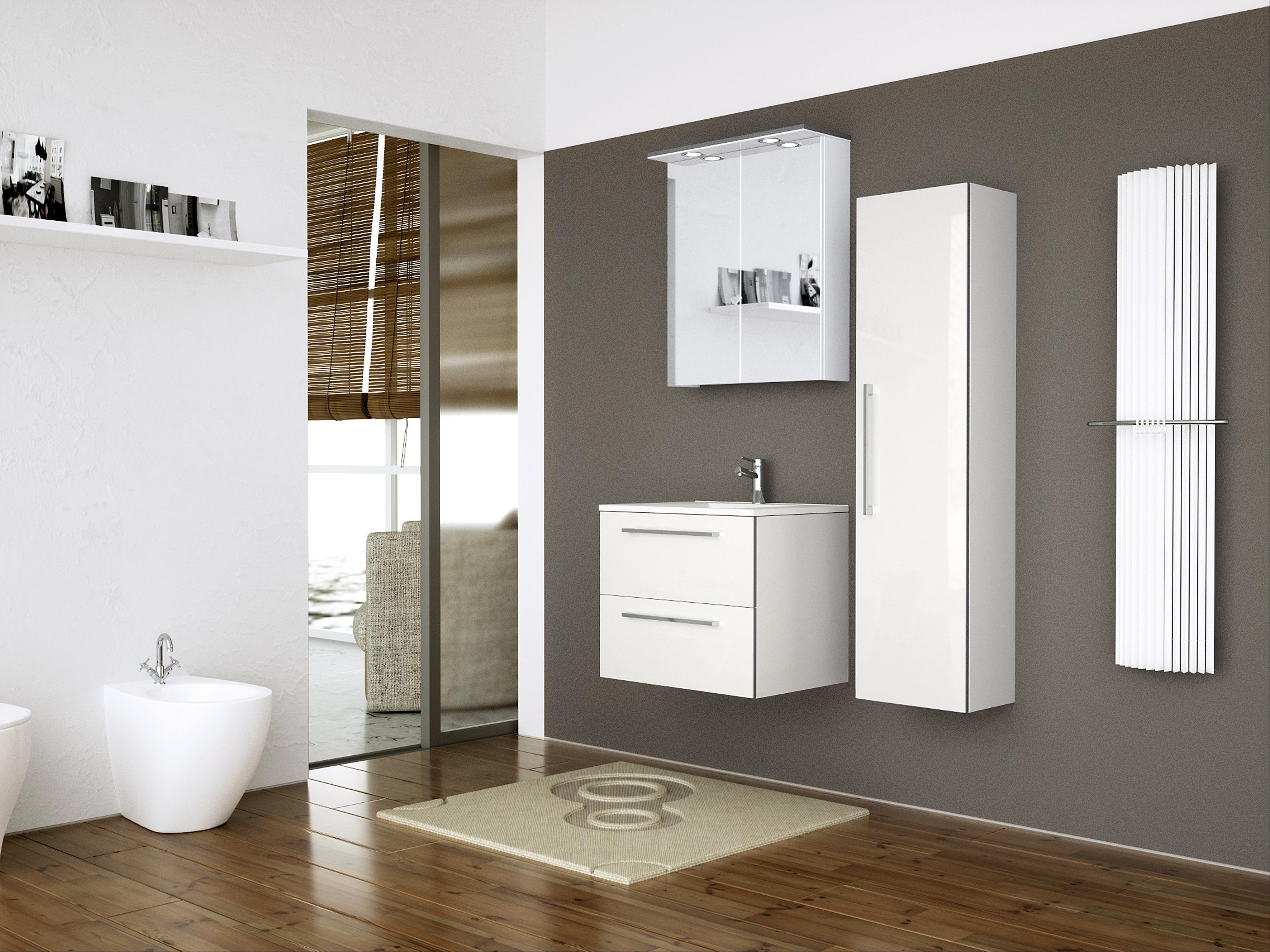 Bad LED Spiegelschrank Allegro 61 Weiß glänzend Bild 4