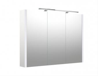 Bad LED Spiegelschrank Luna 90 Weiß glänzend Bild 1