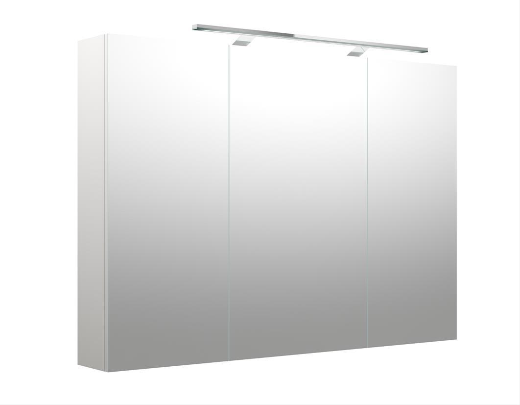 Bad LED Spiegelschrank Milano 100 Weiß matt Bild 1