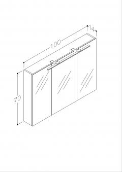 Bad LED Spiegelschrank Milano 100 Weiß matt Bild 3