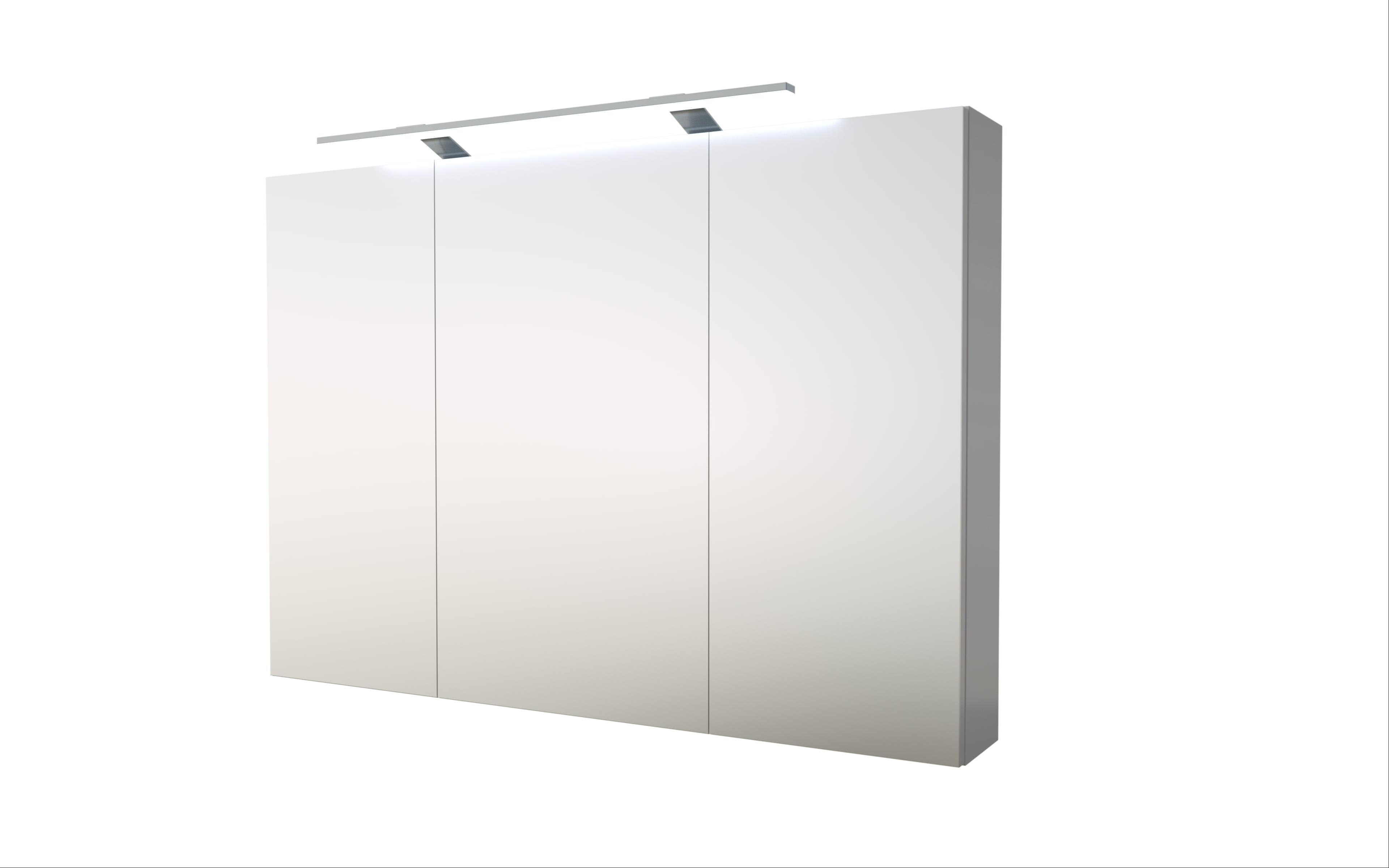 Bad LED Spiegelschrank Scandic 100 Weiß glänzend Bild 1