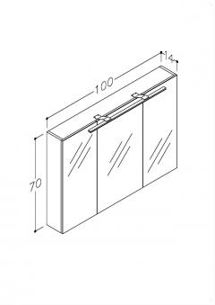 Bad LED Spiegelschrank Scandic 100 Weiß glänzend Bild 2
