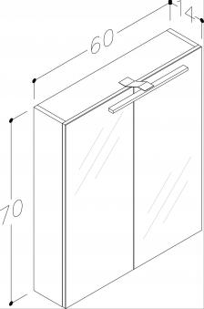 Bad LED Spiegelschrank Scandic 60 Esche Bild 3