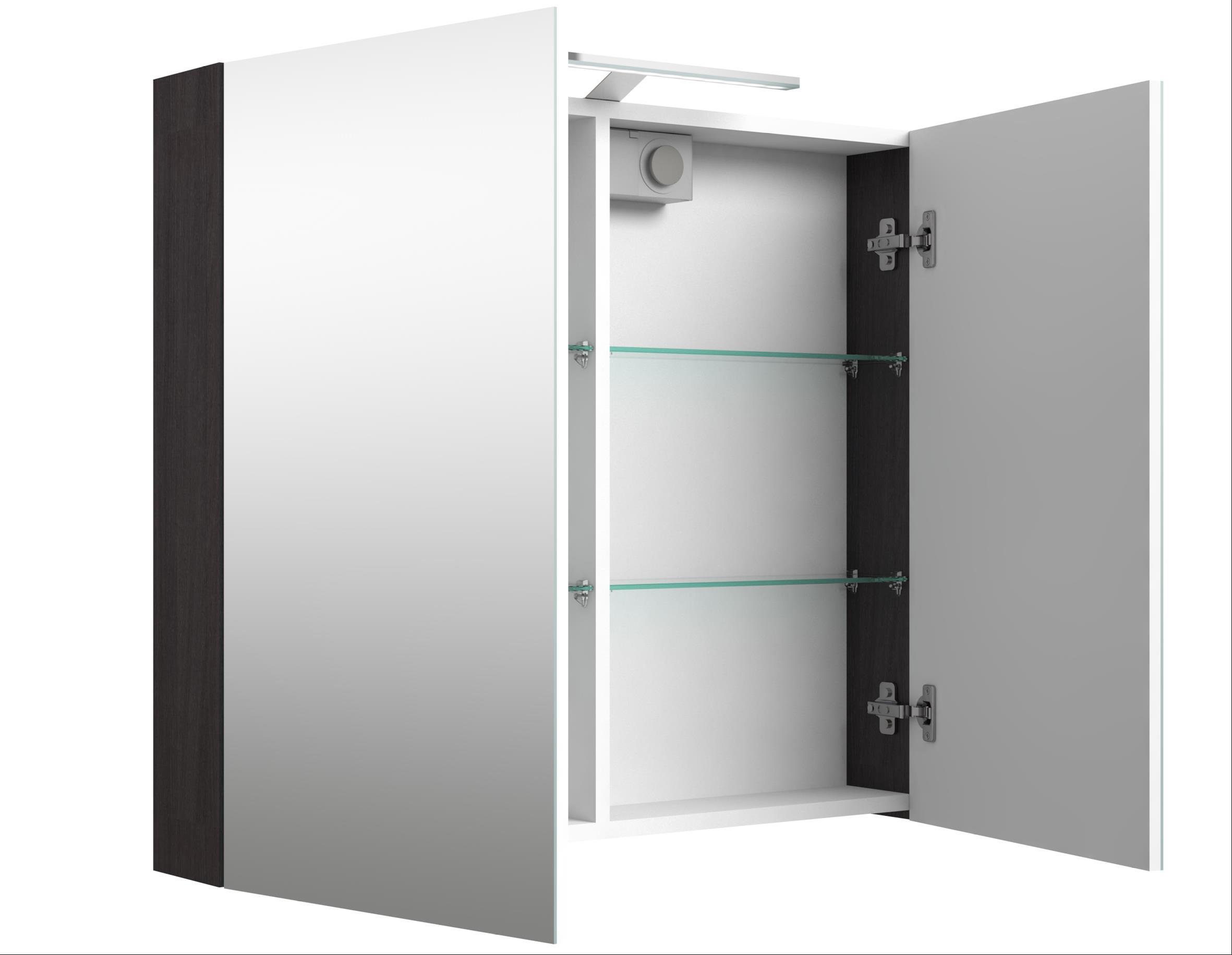 Bad LED Spiegelschrank Scandic 80 Eiche schwarz Bild 1