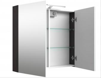 Bad LED Spiegelschrank Scandic 80 Eiche schwarz Bild 3