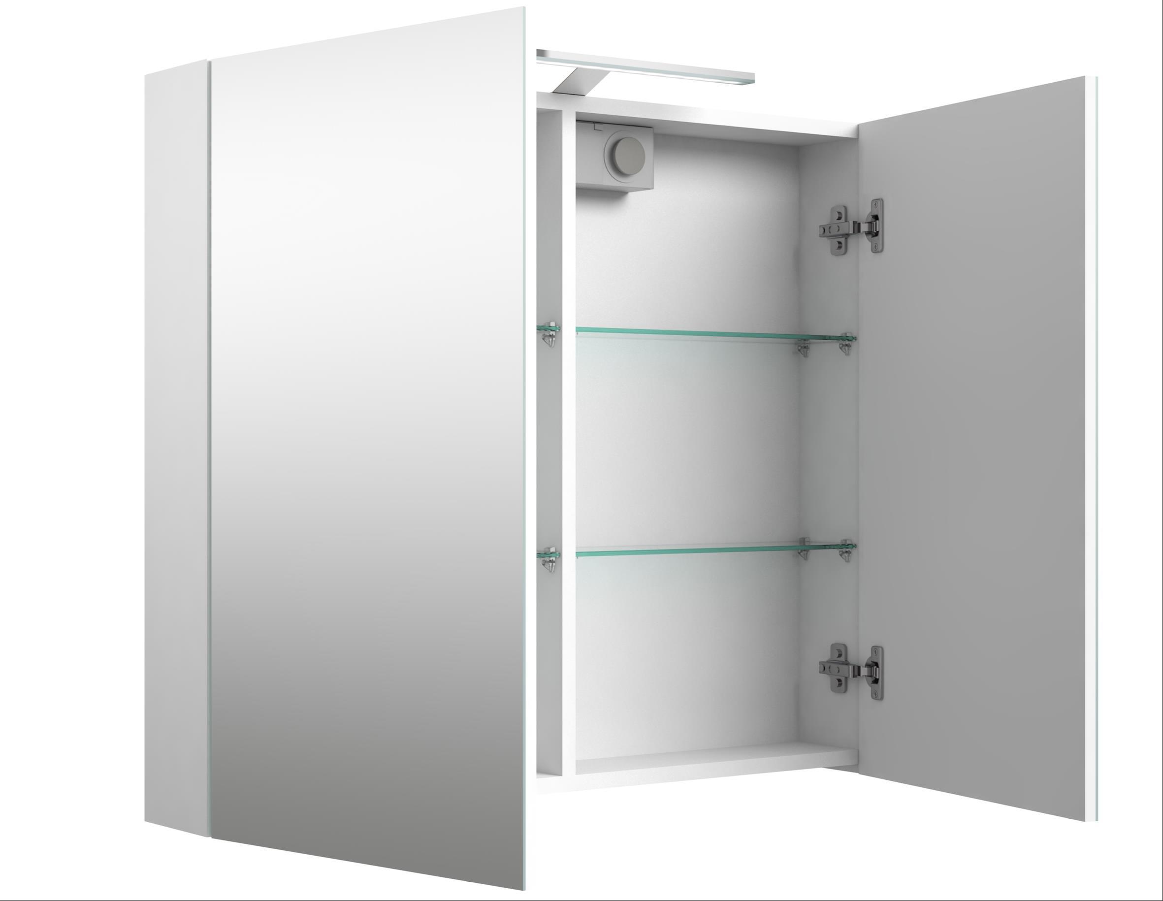 Bad LED Spiegelschrank Scandic 80 Weiß glänzend Bild 1