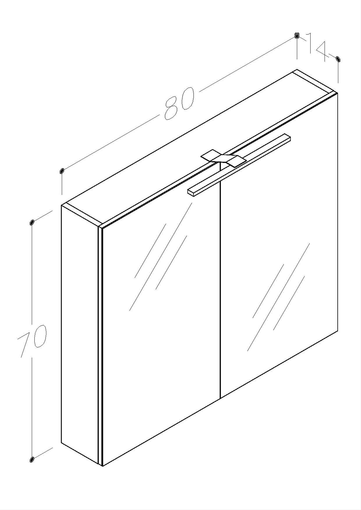 Bad LED Spiegelschrank Scandic 80 Weiß glänzend Bild 2