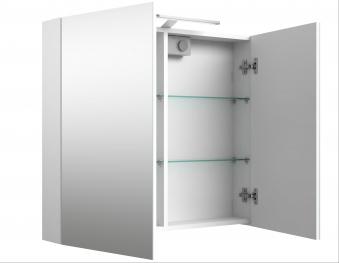 Bad LED Spiegelschrank Scandic 80 Weiß glänzend Bild 3