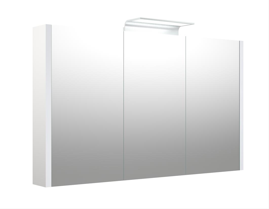 Bad LED Wave Spiegelschrank Luna 110 Weiß glänzend Bild 1