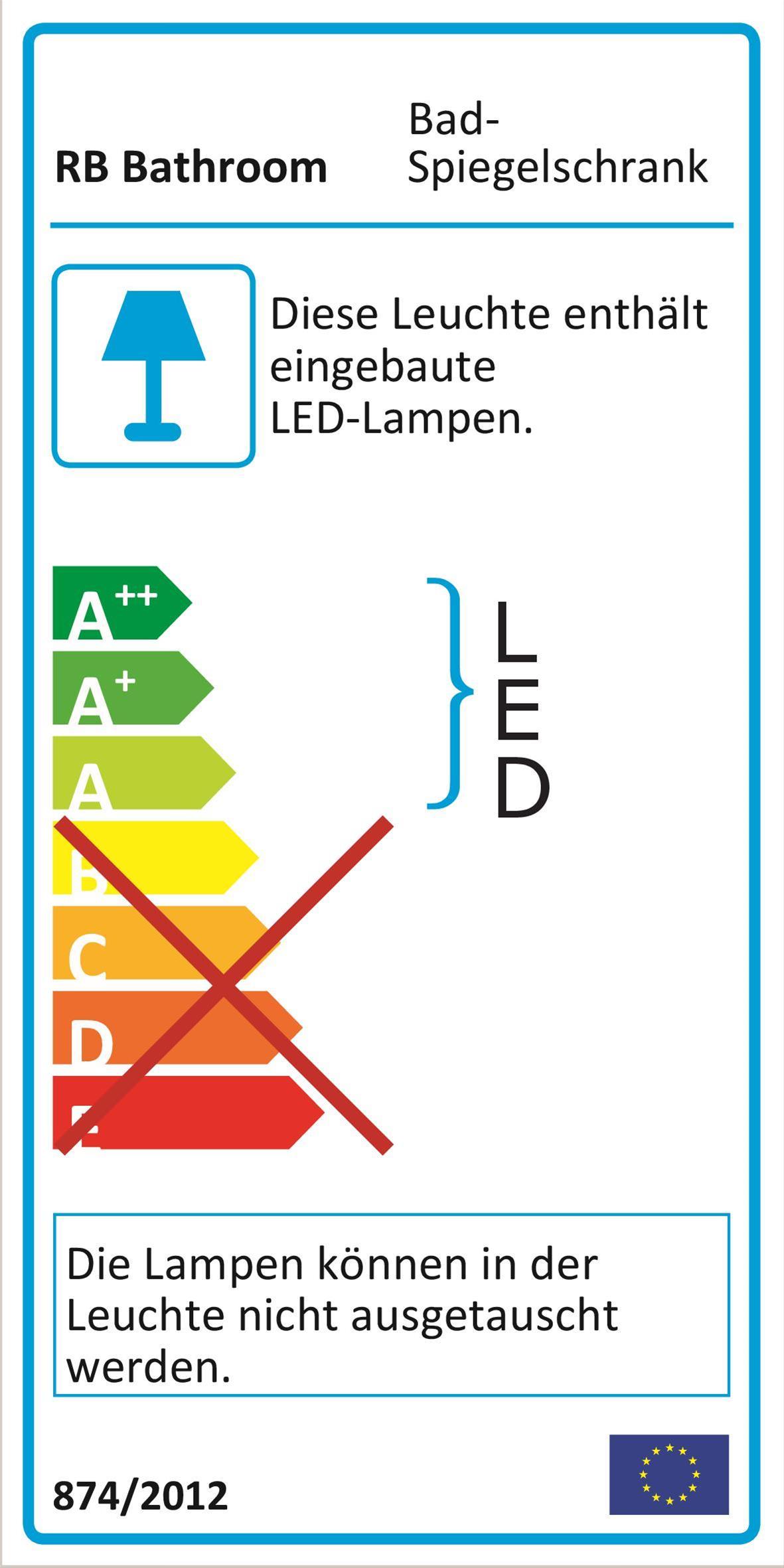 Bad LED Wave Spiegelschrank Luna 60 Eiche bardolino Bild 4