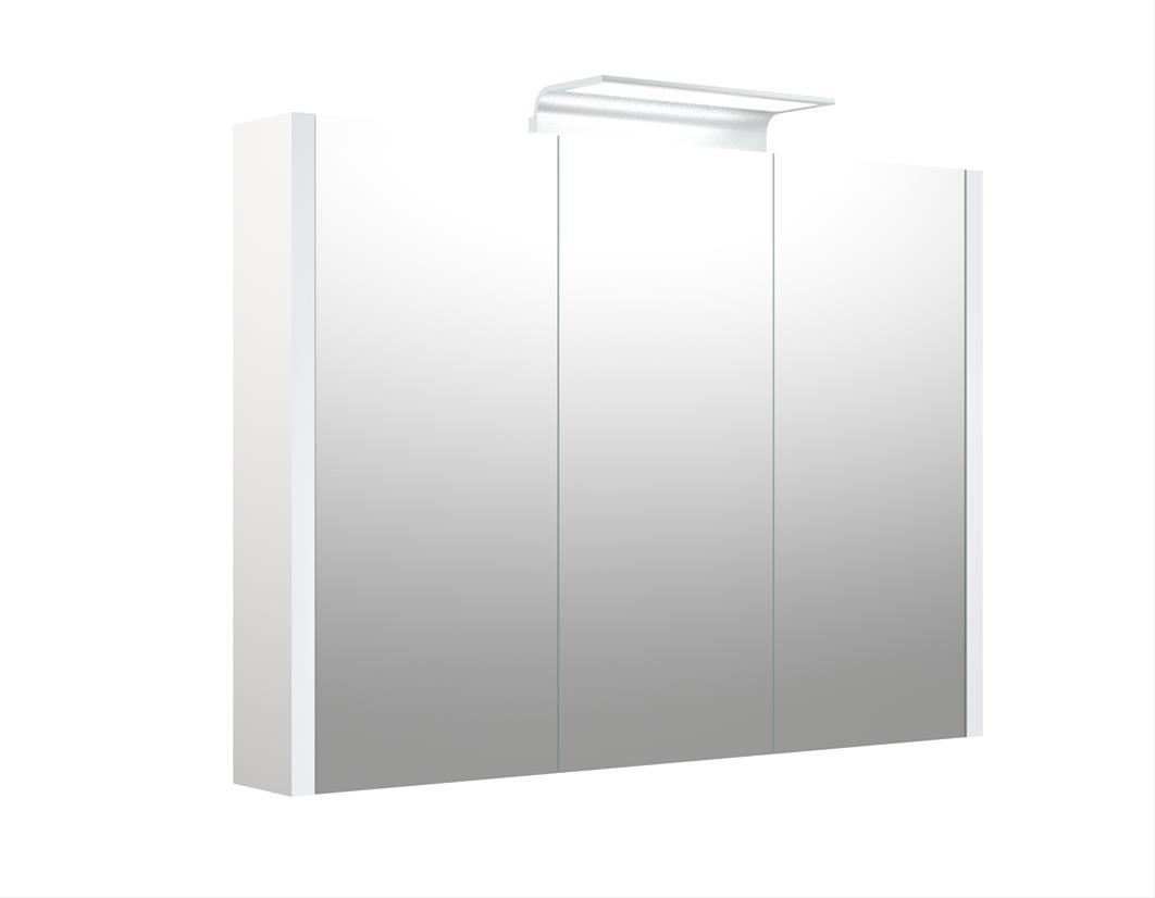 Bad LED Wave Spiegelschrank Luna 90 Weiß glänzend Bild 1
