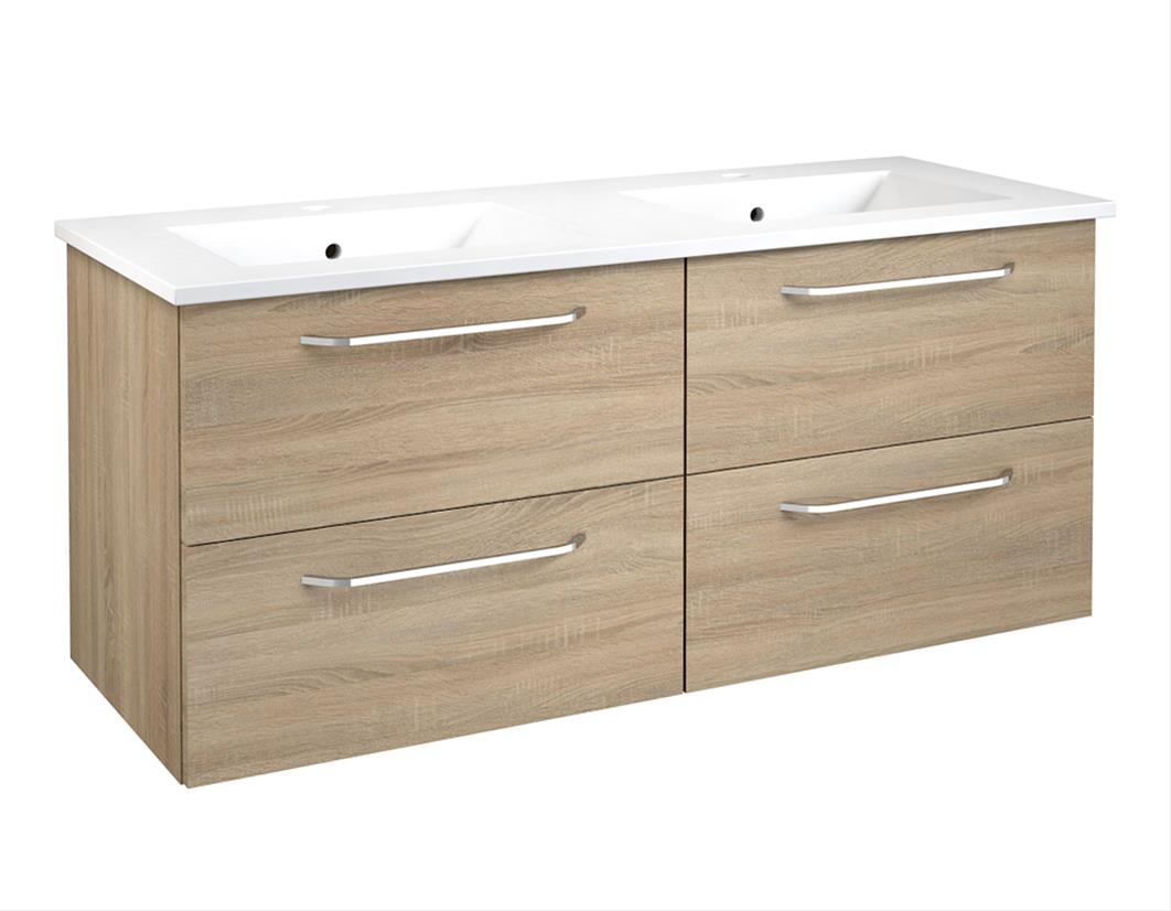 Bad Waschtischunterschrank mit Keramik-Doppelwaschtisch Luna 121 Eiche bardolino Bild 1