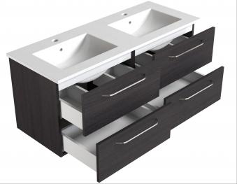 Bad Waschtischunterschrank mit Keramik-Doppelwaschtisch Luna 121 Eiche bardolino Bild 3
