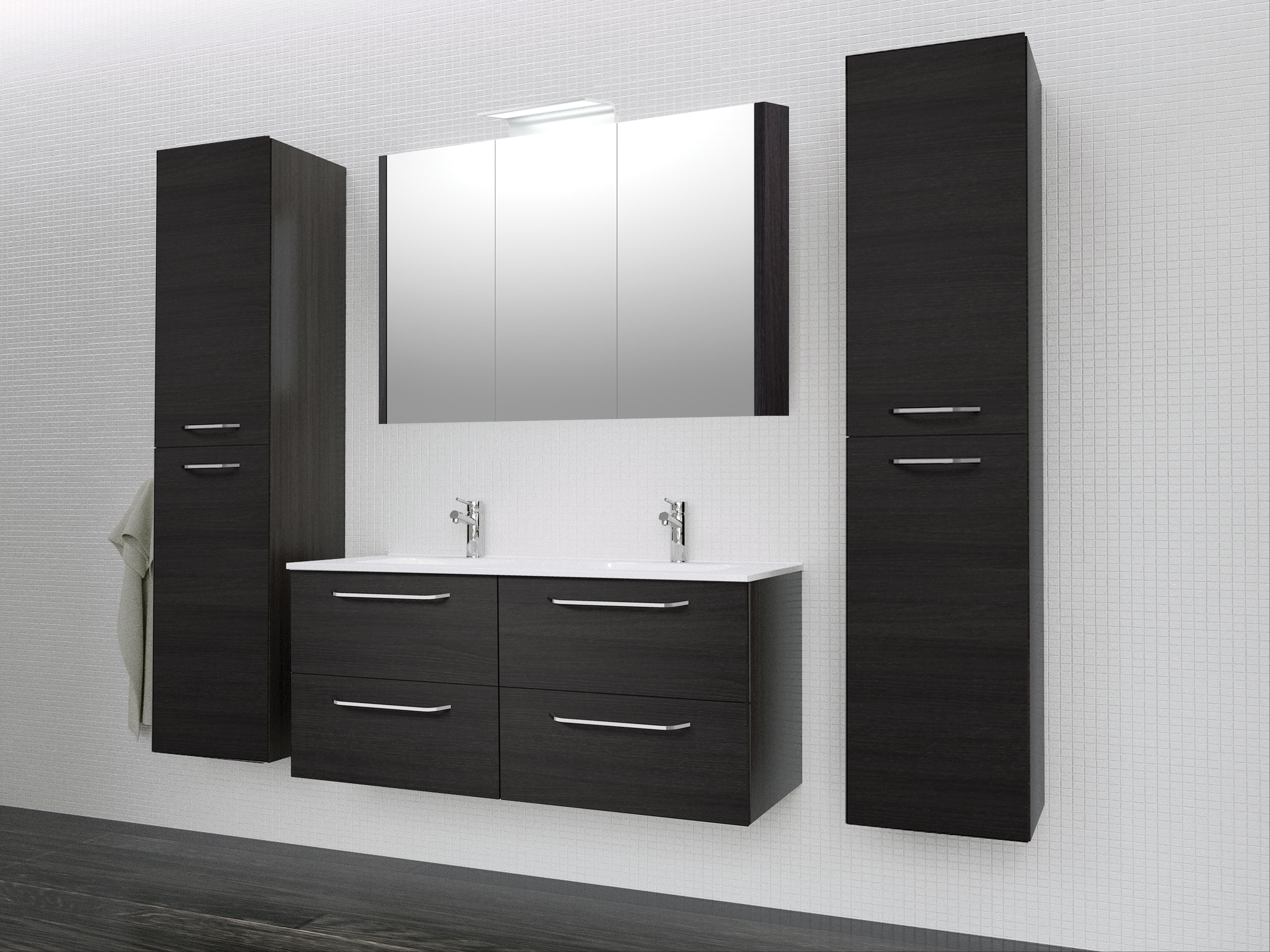 Bad Waschtischunterschrank mit Keramik-Doppelwaschtisch Luna 121 Eiche schwarz Bild 4