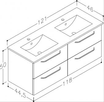 Bad Waschtischunterschrank mit Keramik-Doppelwaschtisch Luna 121 Eiche schwarz Bild 2