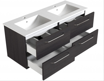 Bad Waschtischunterschrank mit Keramik-Doppelwaschtisch Luna 121 Eiche schwarz Bild 3
