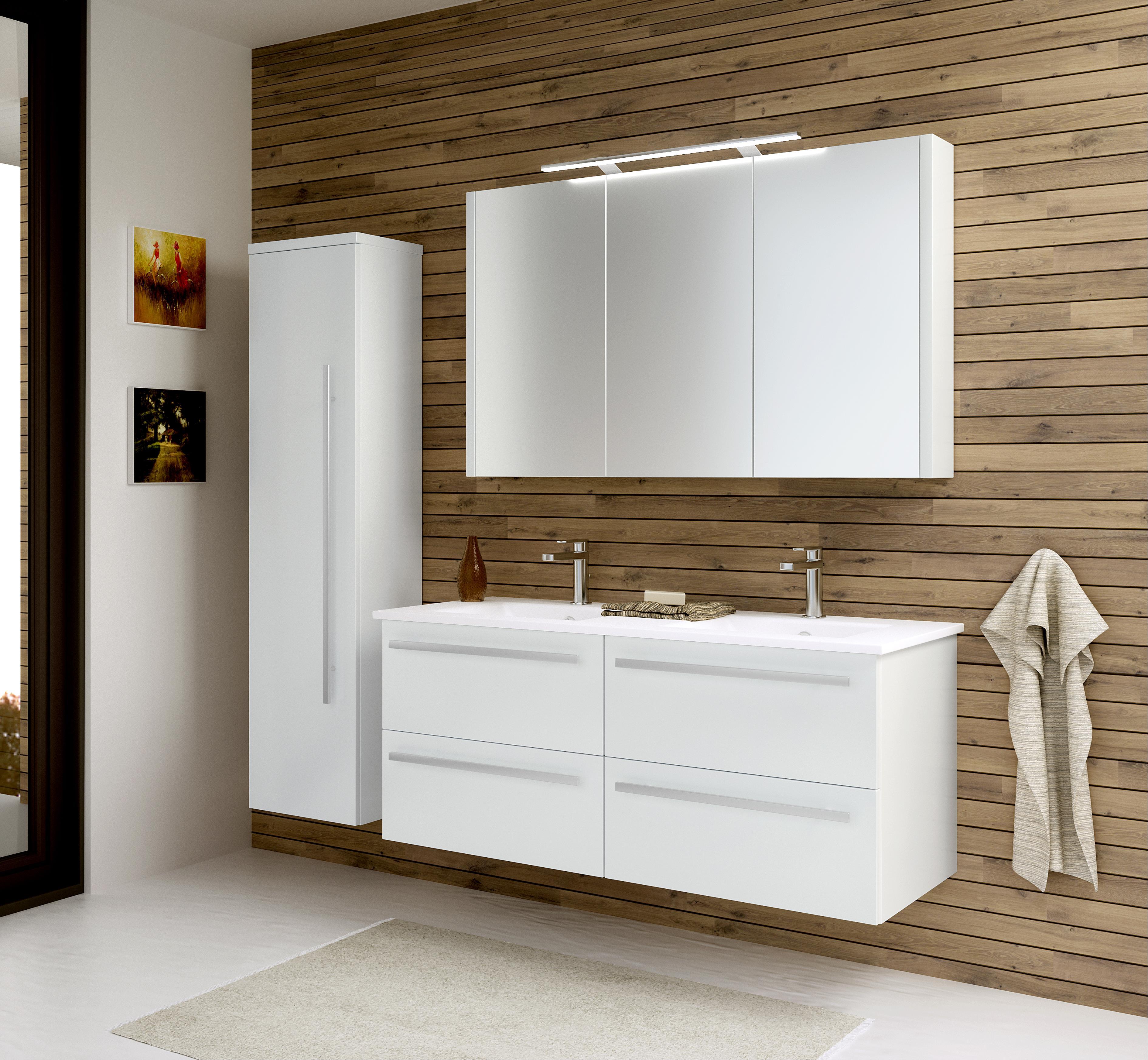 Bad Waschtischunterschrank mit Keramik-Doppelwaschtisch Serena 121 Weiß glänzend Bild 4