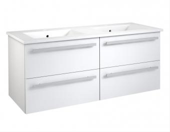 Bad Waschtischunterschrank mit Keramik-Doppelwaschtisch Serena 121 Weiß glänzend Bild 1