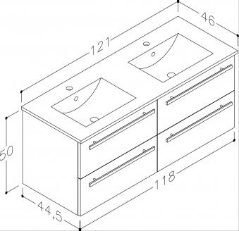 Bad Waschtischunterschrank mit Keramik-Doppelwaschtisch Serena 121 Weiß glänzend Bild 2