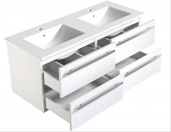 Bad Waschtischunterschrank mit Keramik-Doppelwaschtisch Serena 121 Weiß glänzend Bild 3