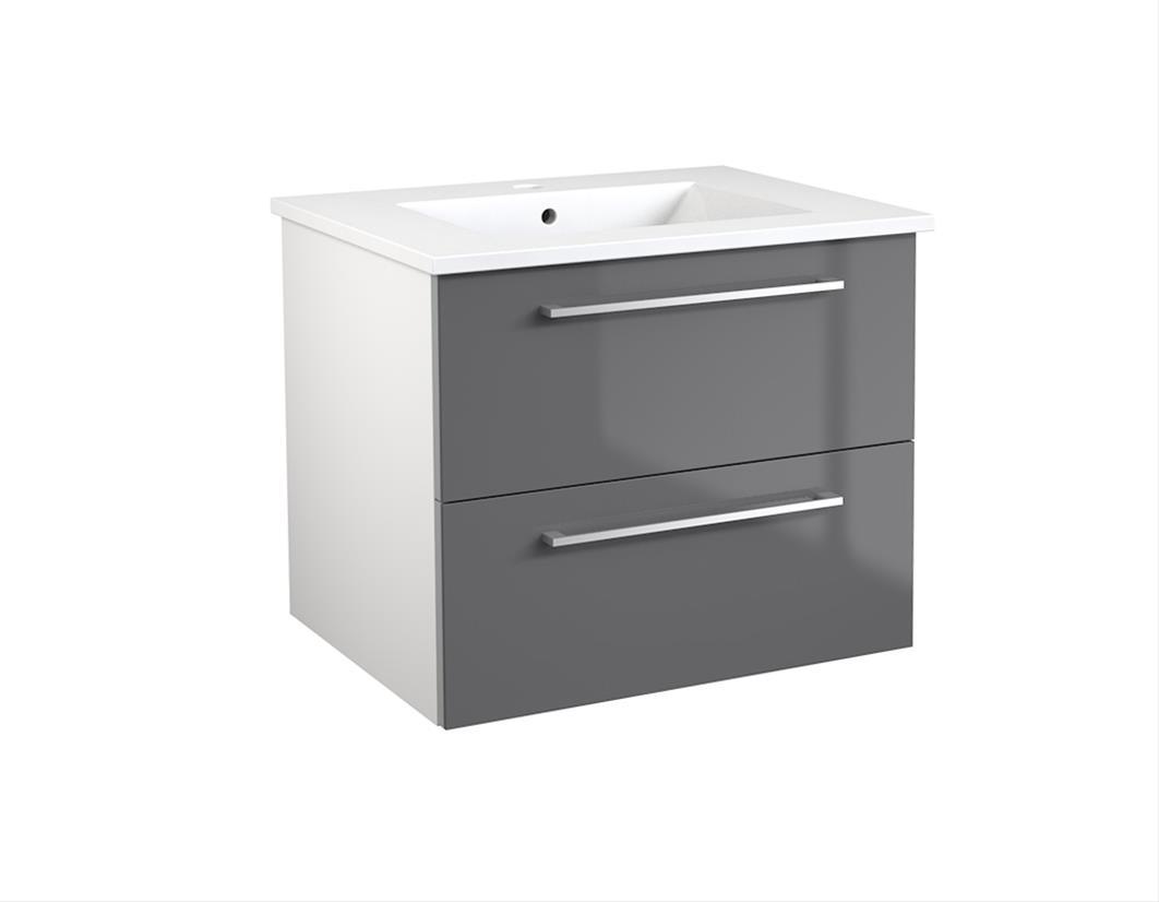 Bad Waschtischunterschrank mit Keramik-Waschtisch Allegro 61 Grau glänzend Bild 1