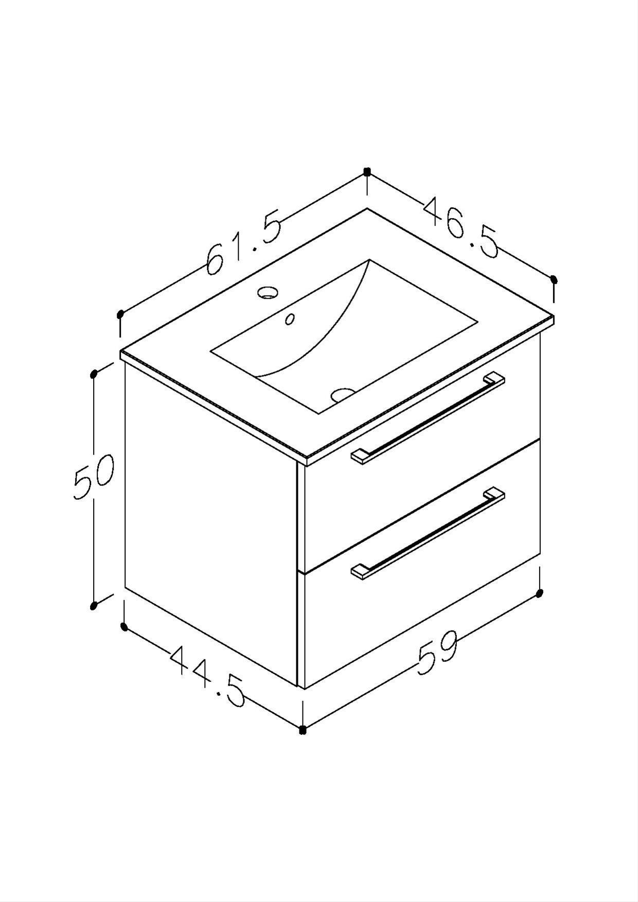Bad Waschtischunterschrank mit Keramik-Waschtisch Allegro 61 Grau glänzend Bild 2