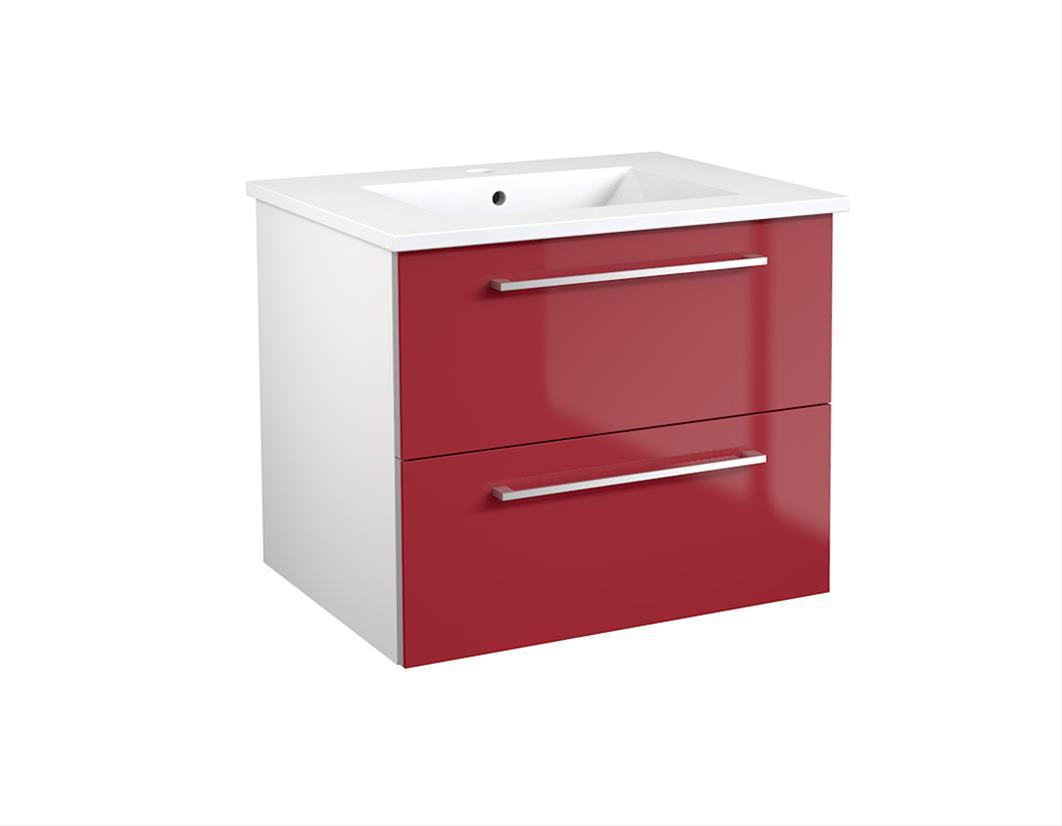 Bad Waschtischunterschrank mit Keramik-Waschtisch Allegro 61 Rot glänzend Bild 1