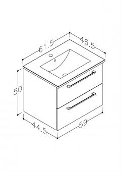 Bad Waschtischunterschrank mit Keramik-Waschtisch Allegro 61 Rot glänzend Bild 2
