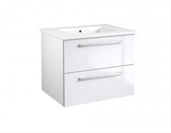 Bad Waschtischunterschrank mit Keramik-Waschtisch Allegro 61 Weiß glänzend Bild 1