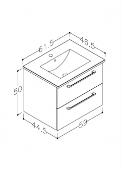 Bad Waschtischunterschrank mit Keramik-Waschtisch Allegro 61 Weiß glänzend Bild 2