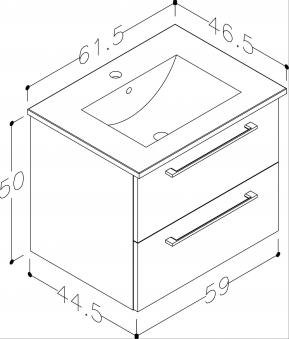 Bad Waschtischunterschrank mit Keramik-Waschtisch Allegro 61 Weiß glänzend Bild 3