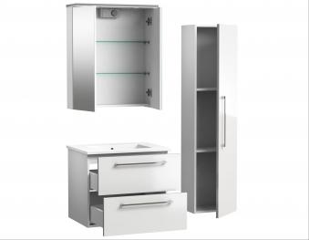 Bad Waschtischunterschrank mit Keramik-Waschtisch Allegro 61 Weiß glänzend Bild 4