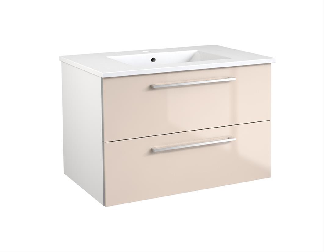Bad Waschtischunterschrank mit Keramik-Waschtisch Allegro 76 Beige glänzend Bild 1