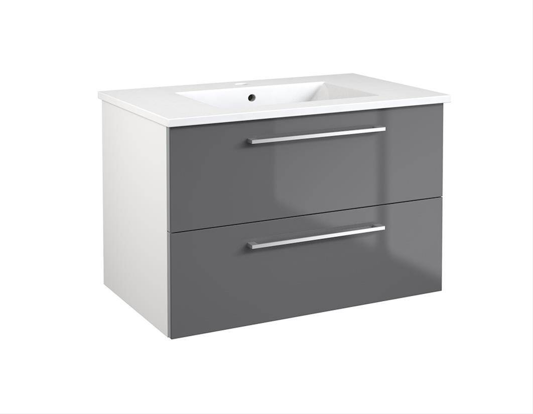 Bad Waschtischunterschrank mit Keramik-Waschtisch Allegro 76 Grau glänzend Bild 1