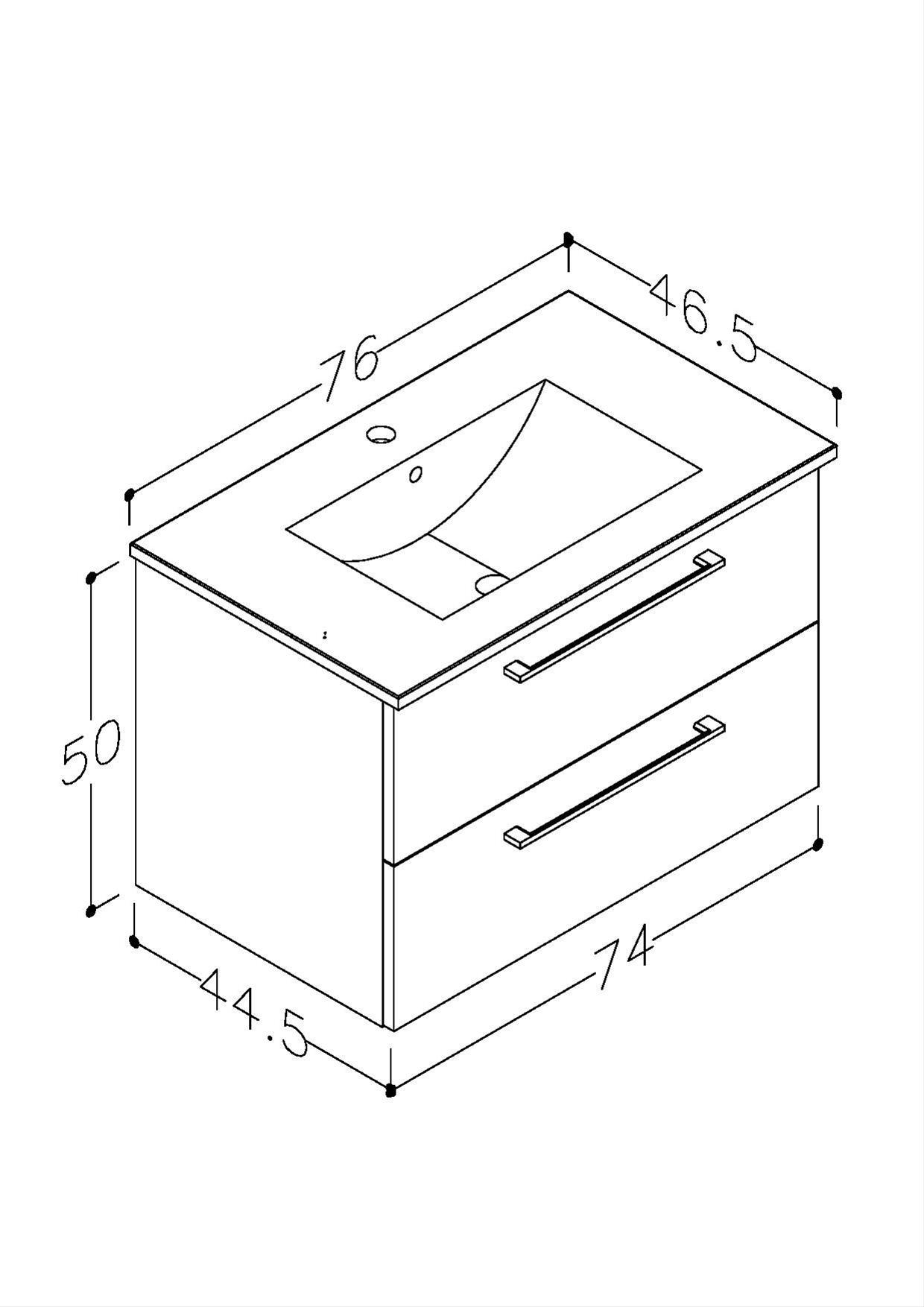 Bad Waschtischunterschrank mit Keramik-Waschtisch Allegro 76 Grau glänzend Bild 2