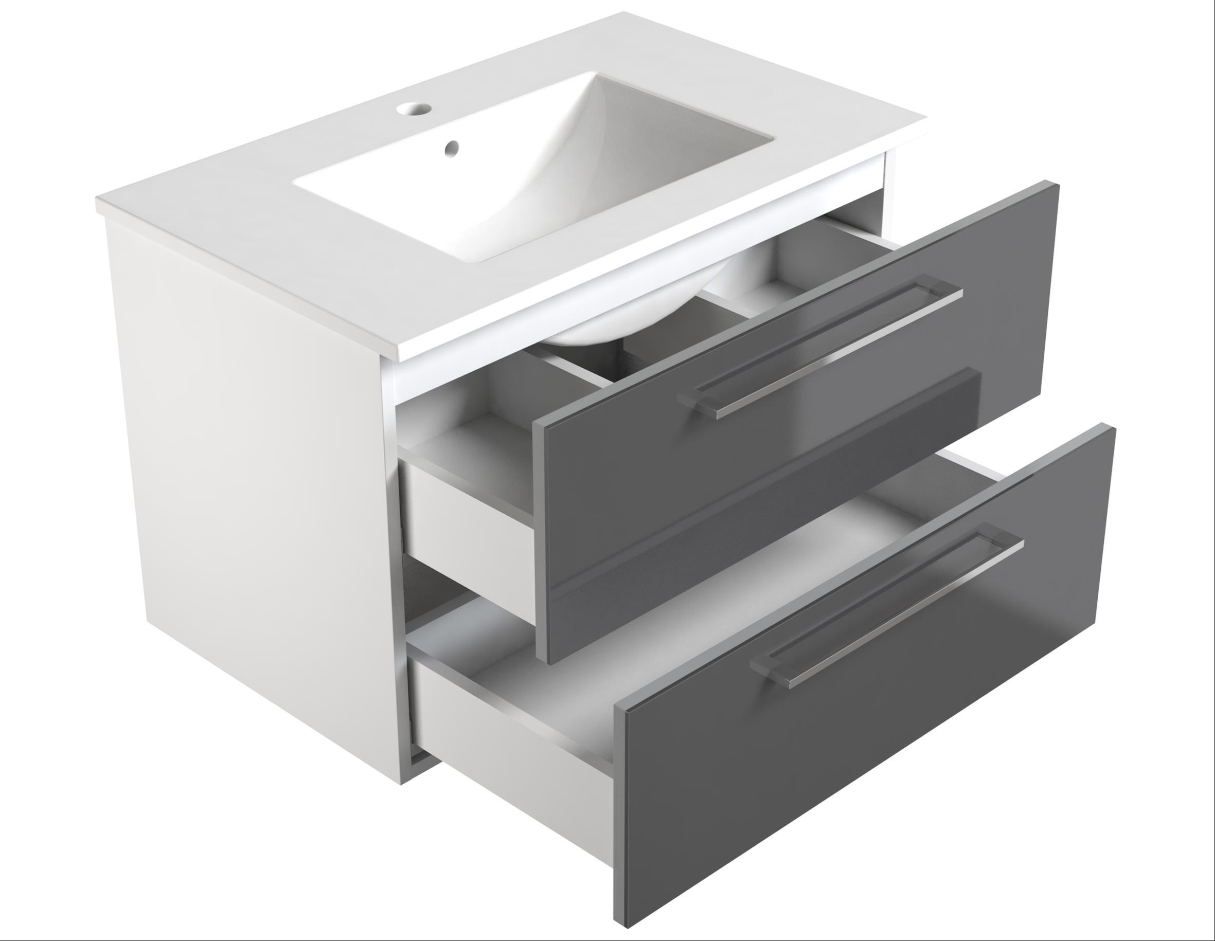 Bad Waschtischunterschrank mit Keramik-Waschtisch Allegro 76 Grau glänzend Bild 3