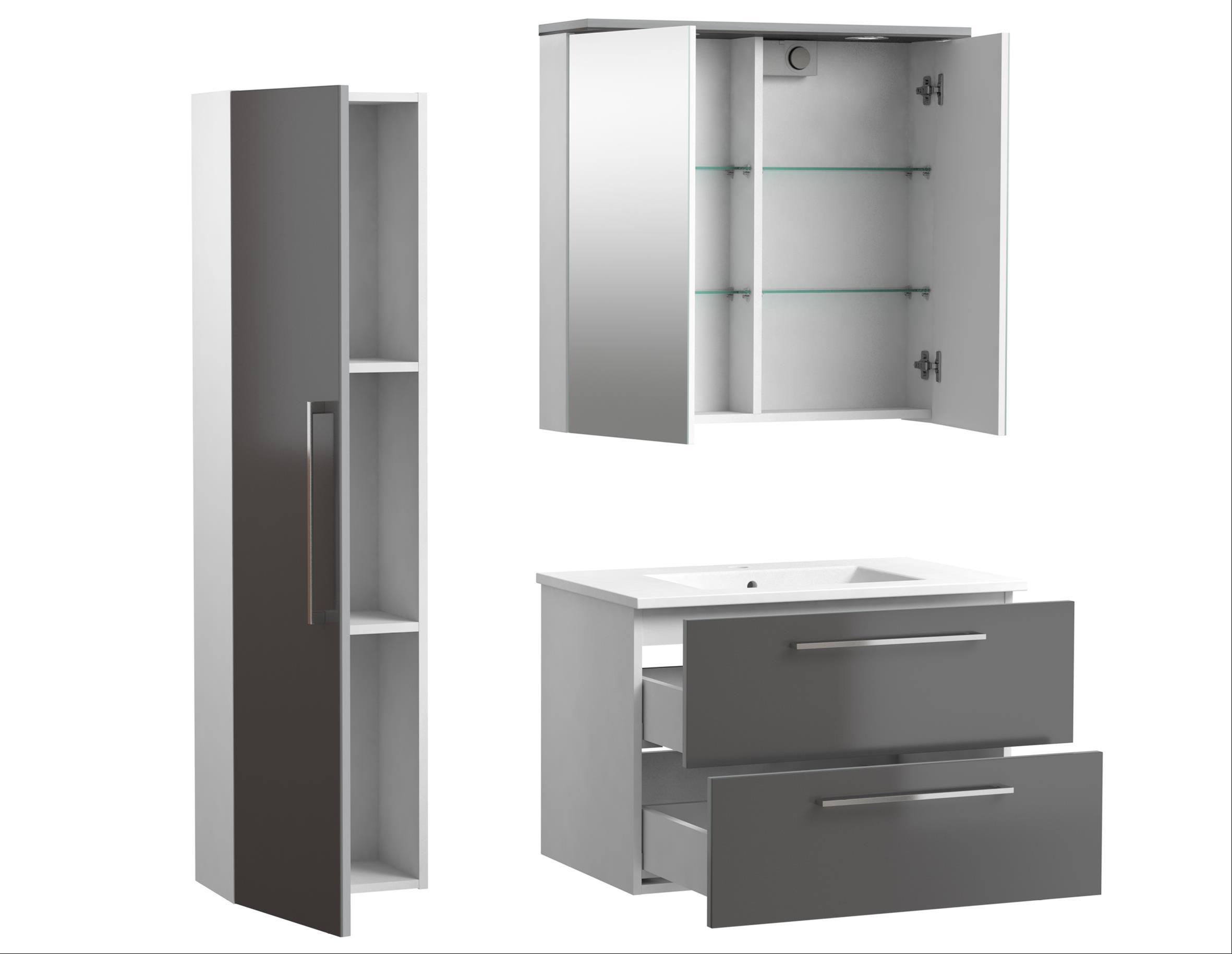 Bad Waschtischunterschrank mit Keramik-Waschtisch Allegro 76 Grau glänzend Bild 4