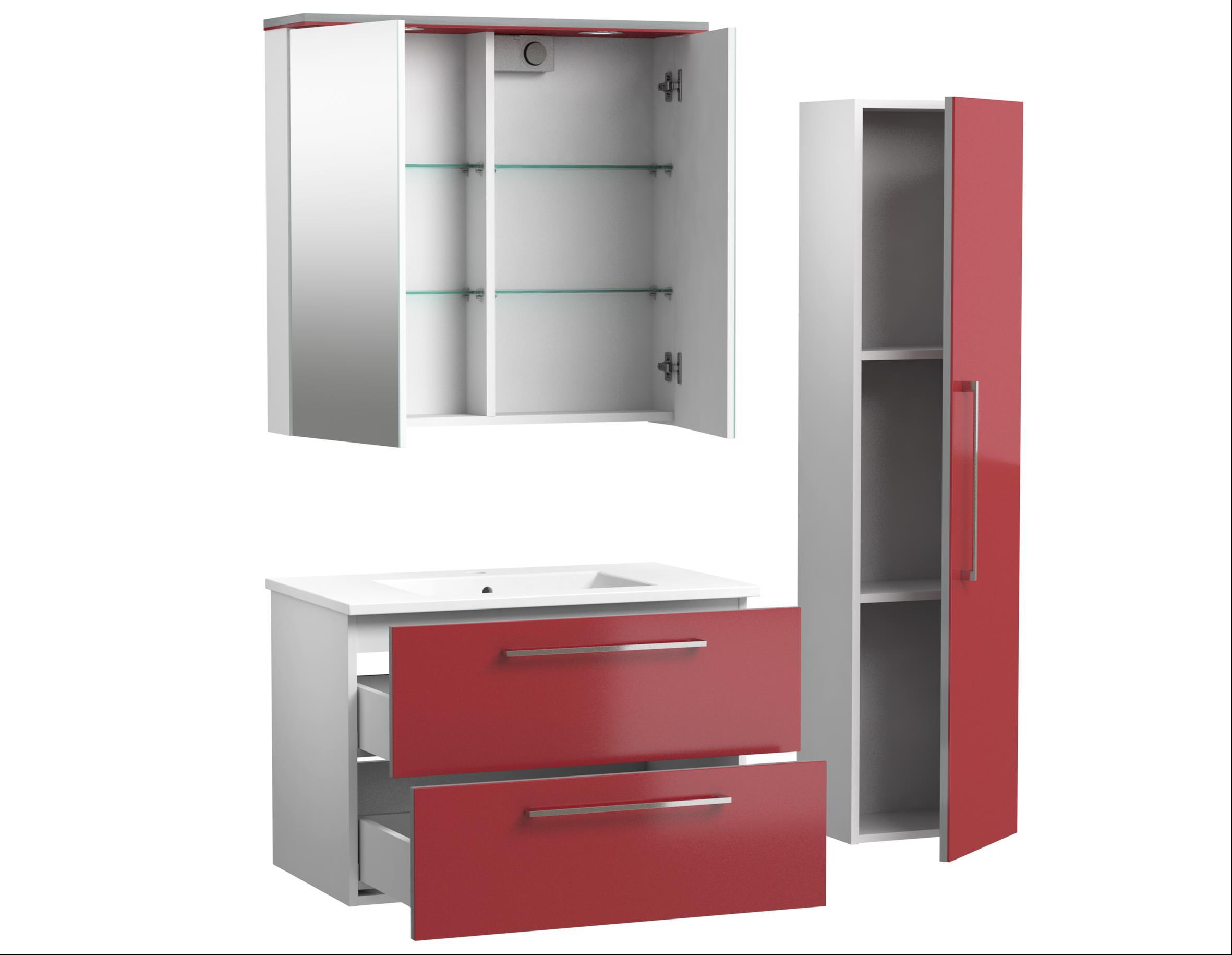 Bad Waschtischunterschrank mit Keramik-Waschtisch Allegro 76 Rot glänzend Bild 4