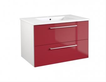 Bad Waschtischunterschrank mit Keramik-Waschtisch Allegro 76 Rot glänzend Bild 1