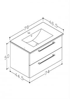 Bad Waschtischunterschrank mit Keramik-Waschtisch Allegro 76 Rot glänzend Bild 2