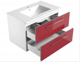 Bad Waschtischunterschrank mit Keramik-Waschtisch Allegro 76 Rot glänzend Bild 3